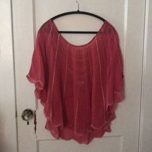 Plus Size Sheer Pink scalloped top